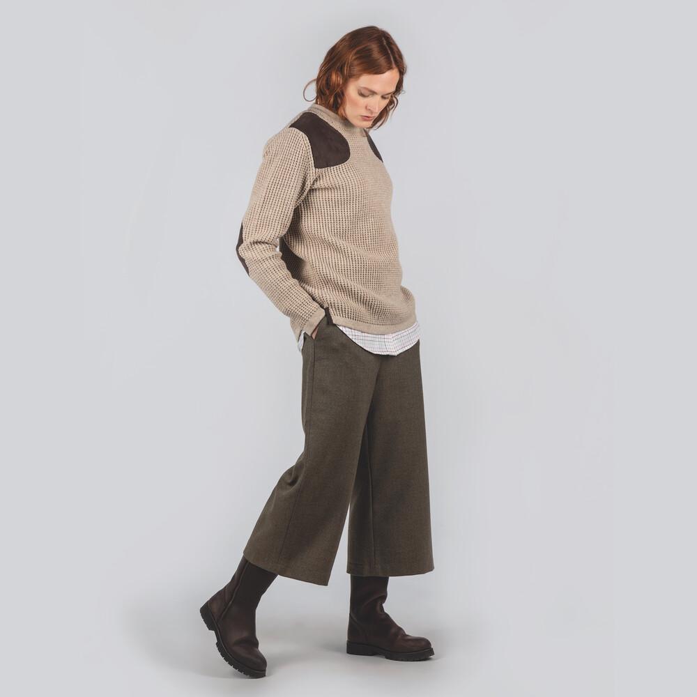 Tweed Culottes Loden Green Herringbone Tweed