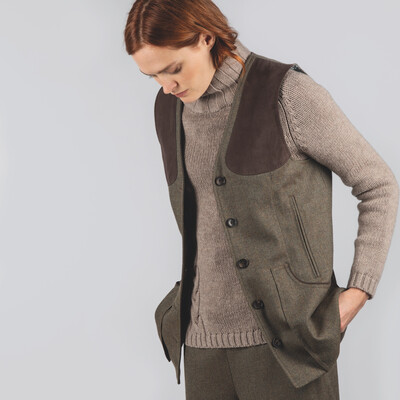 Ladies Tweed Shooting Vest Loden Green Herringbone Tweed