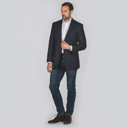 Belgrave Tweed Sports Jacket Navy Herringbone Tweed