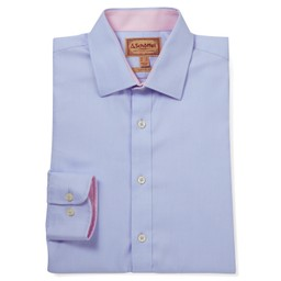 Schoffel Country Greenwich Tailored Shirt in Light Blue Diagonal