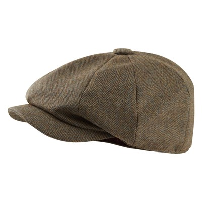 Ladies Newsboy Cap Loden Green Herringbone Tweed