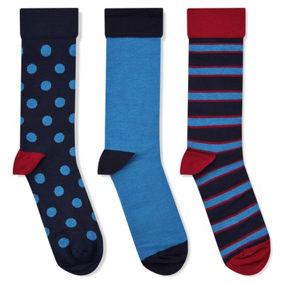 Bamboo Sock (Pack of 3) Sea Blue Mix