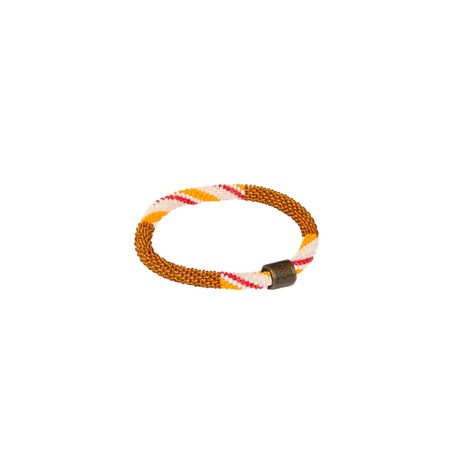 Sherpa Adventure Gear Mayalu Stripe Roll On Bracelet in Henna Brown