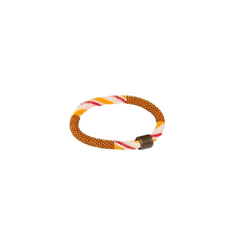 Mayalu Stripe Roll On Bracelet - Henna Brown