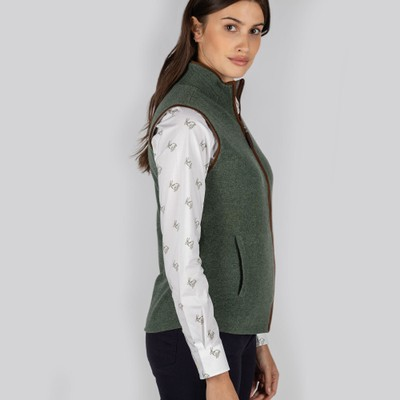 Ladies Reversible Merino/Cashmere Gilet Cedar Green/Silver Grey