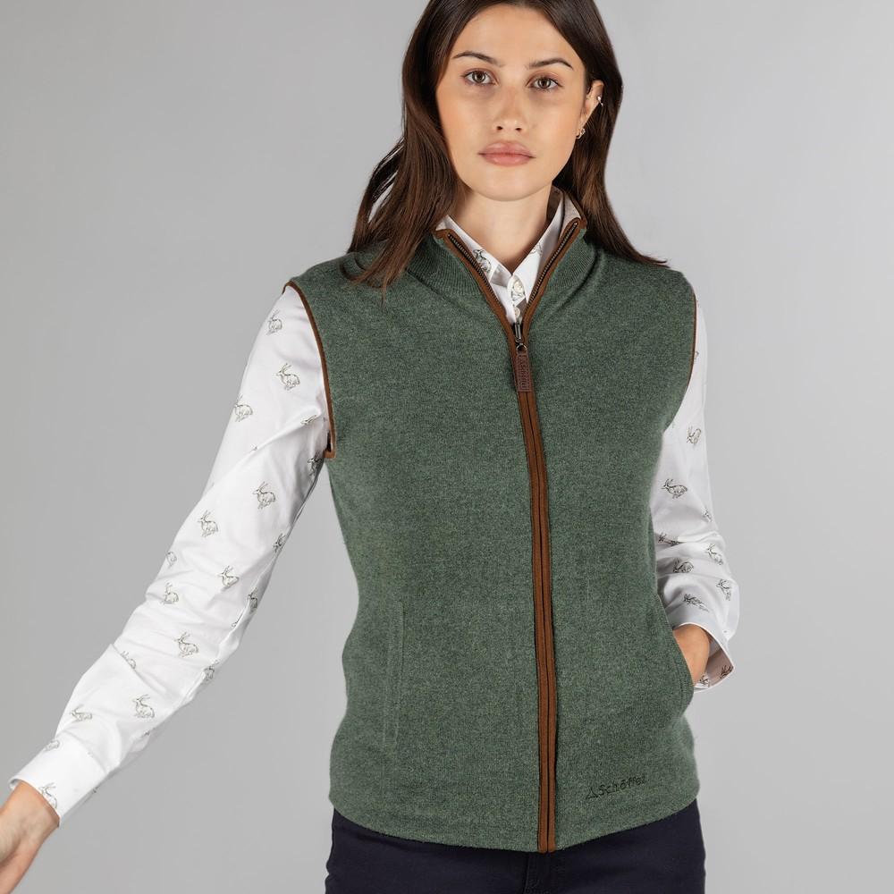 Ladies Reversible Merino/Cashmere Gilet Cedar Green/Silver Grey