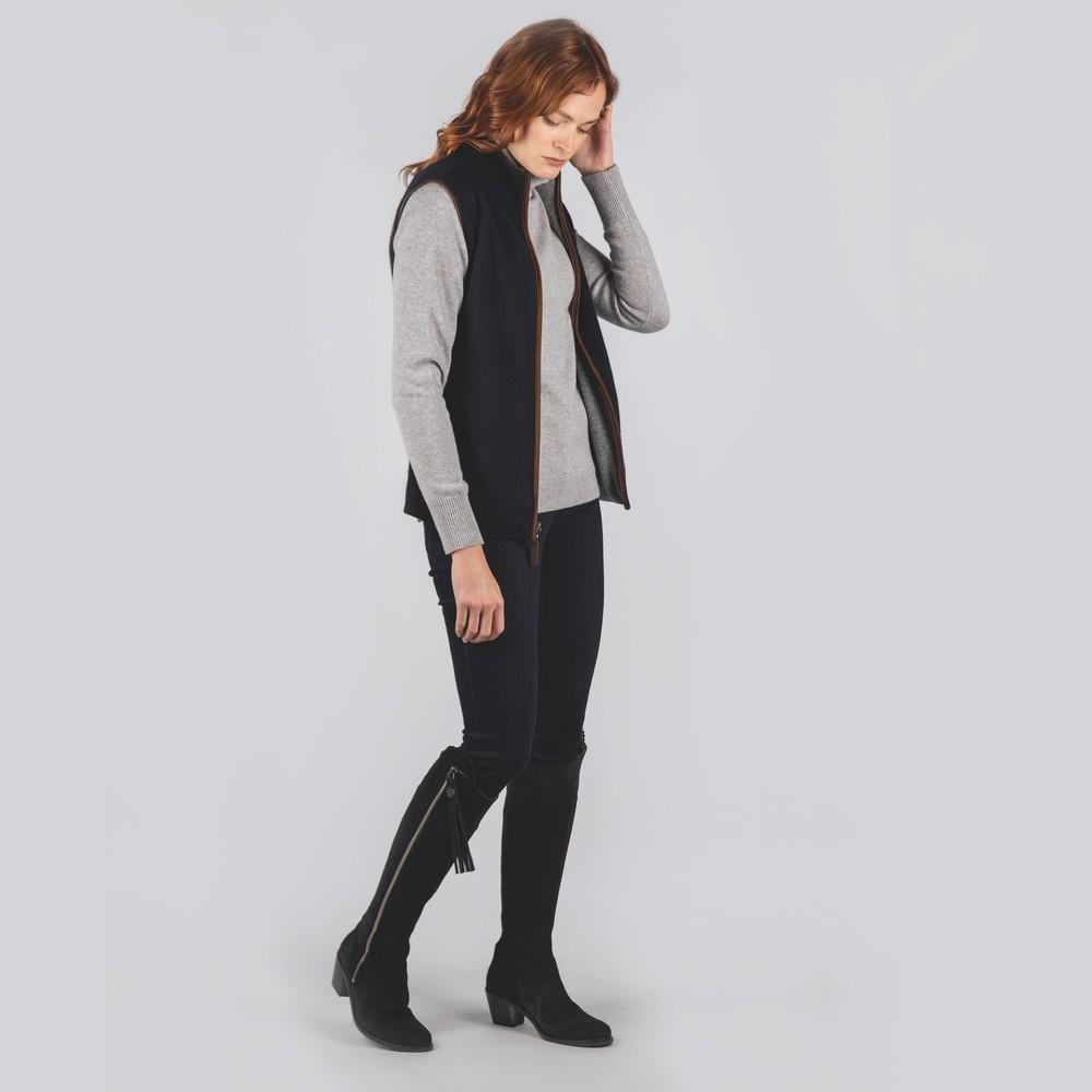 Ladies Reversible Merino/Cashmere Gilet Navy/Grey