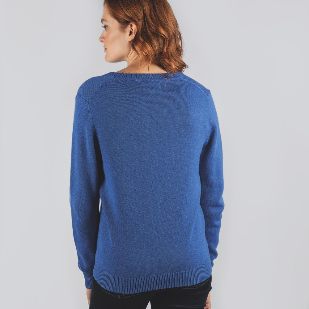 Ladies Merino V Neck Cobalt Blue