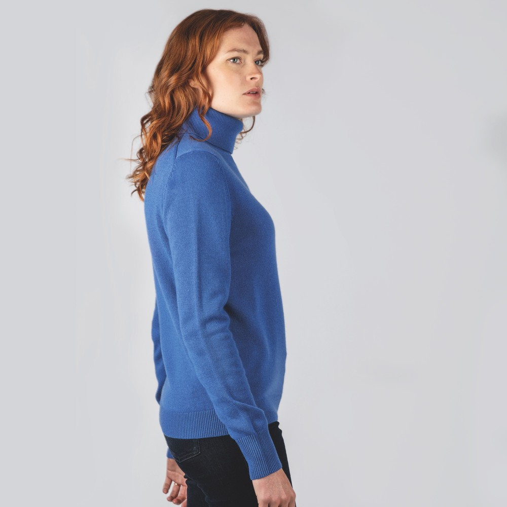 Ladies Merino Roll Neck Cobalt Blue