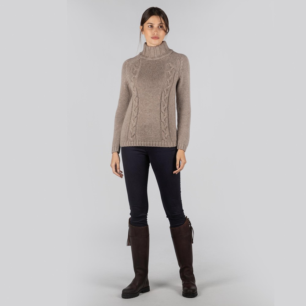 Merino Cable Roll Neck Mink