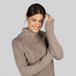 Schoffel Country Merino Cable Roll Neck in Mink