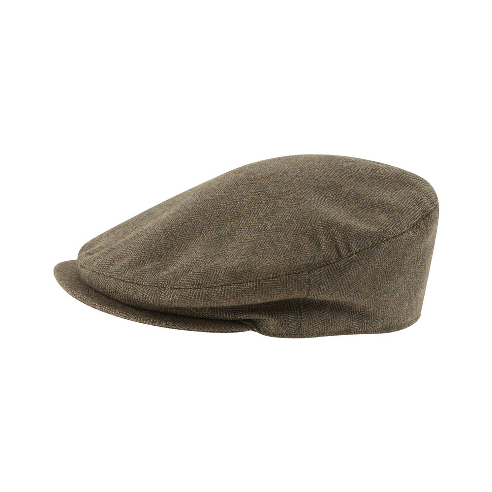 Countryman Tweed Cap Loden Green Herringbone Tweed