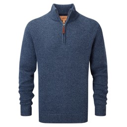 Schoffel Country Lambswool Chunky 1/4 Zip in Dark Denim