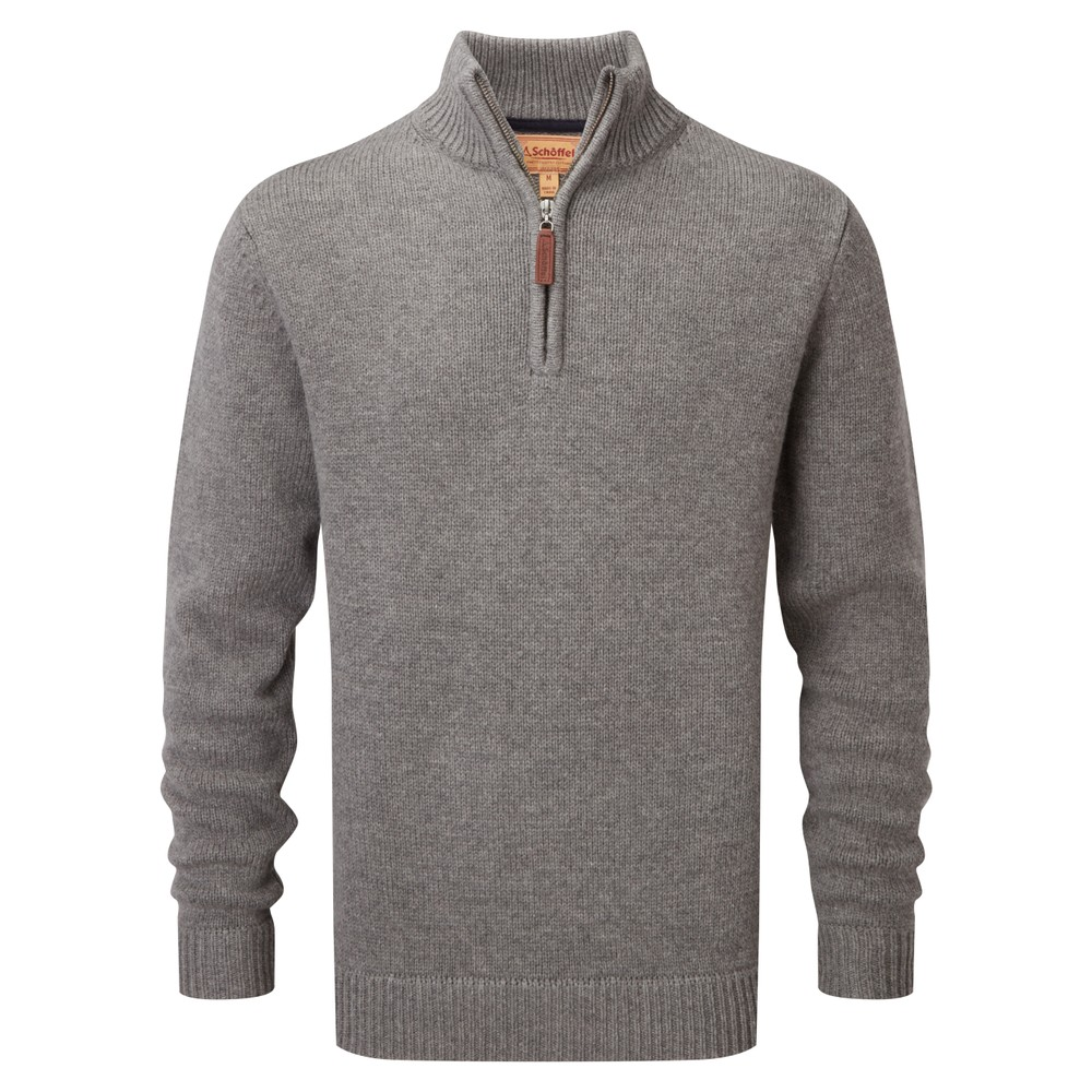 Lambswool Chunky 1/4 Zip Castle Grey