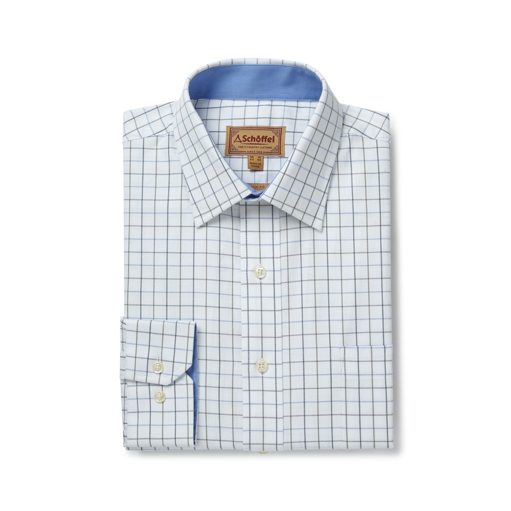 Burnham Tattersall Classic Shirt Blue/Olive Check