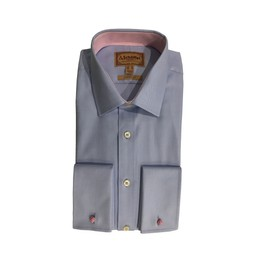 Schoffel Country Greenwich Classic Shirt in Light Blue Diagonal