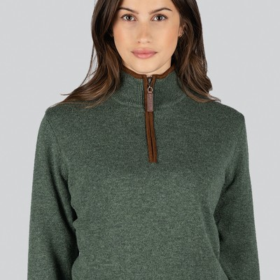Schoffel Country Ladies Lambswool Aerobloc 1/4 Zip Jumper in Cedar Green