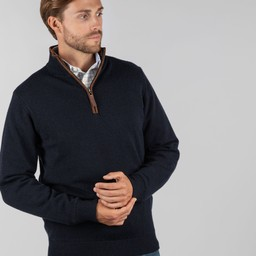 Lambswool Aerobloc 1/4 Zip Jumper Navy