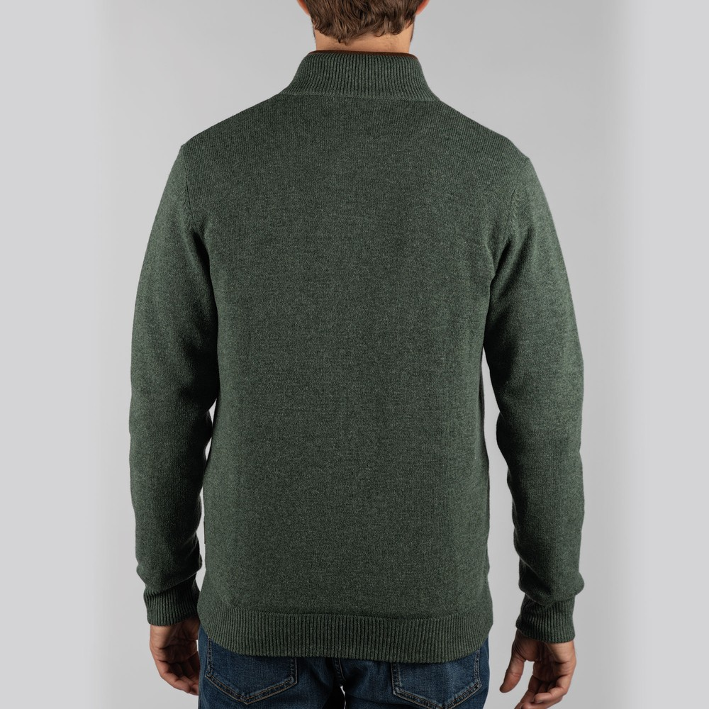 Lambswool Aerobloc 1/4 Zip Jumper Cedar Green