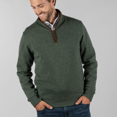 Schoffel Country Lambswool Aerobloc 1/4 Zip Jumper in Cedar Green