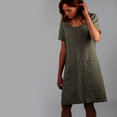 Schoffel Country Athena Linen Dress in Khaki