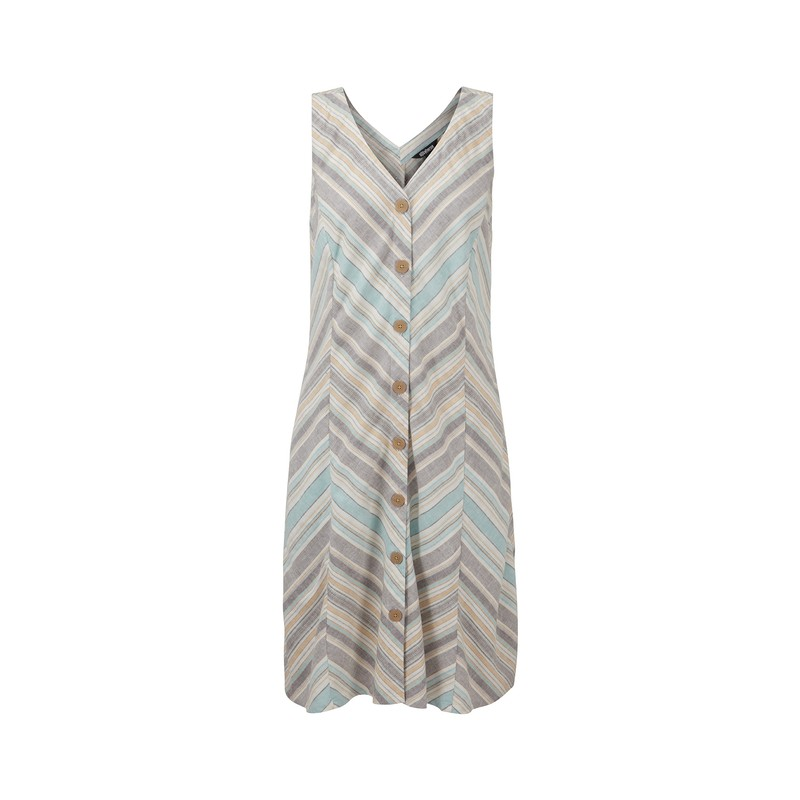 Kiran Dress - Monsoon Grey Stripe