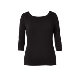 Royal Robbins Kickback To Front 3/4 Sleeve Top in Jet Black