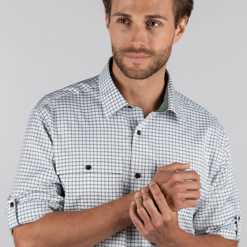Findhorn Technical Fishing Shirt Dark Olive Check
