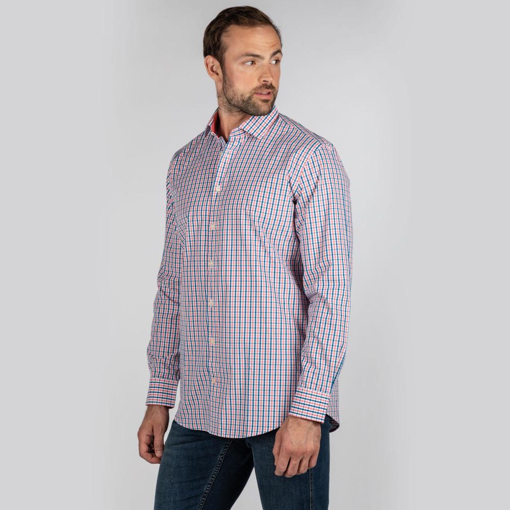 Hebden Tailored Shirt Coral/Mykonos
