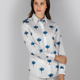 Schoffel Country Norfolk Shirt in Cornflower Print