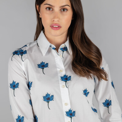 Norfolk Shirt Cornflower Print