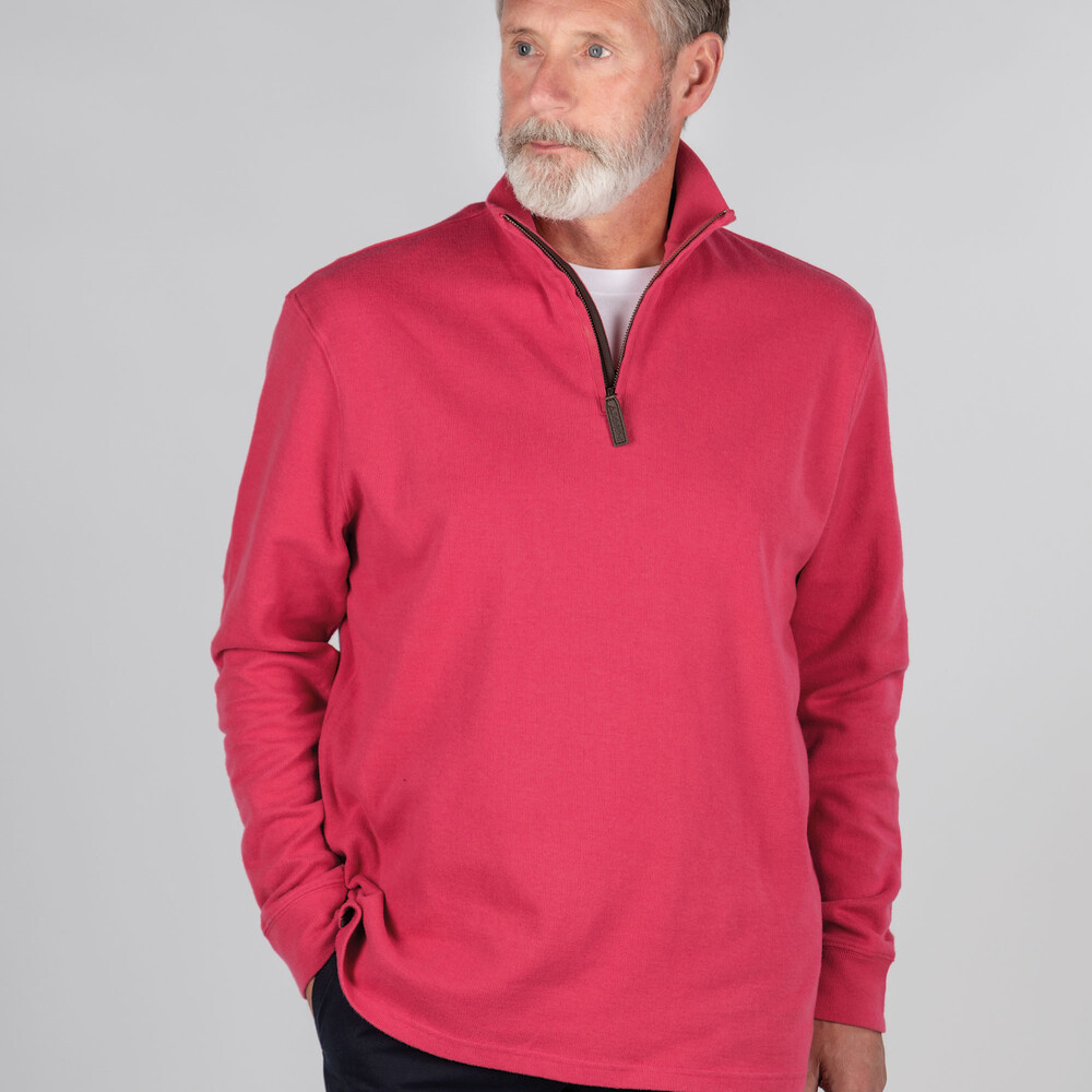Cotton French Rib 1/4 Zip Raspberry