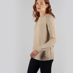Schoffel Country Cornwall Cotton Crew Jumper in Oat