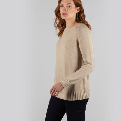 Cornwall Cotton Crew Jumper Oat