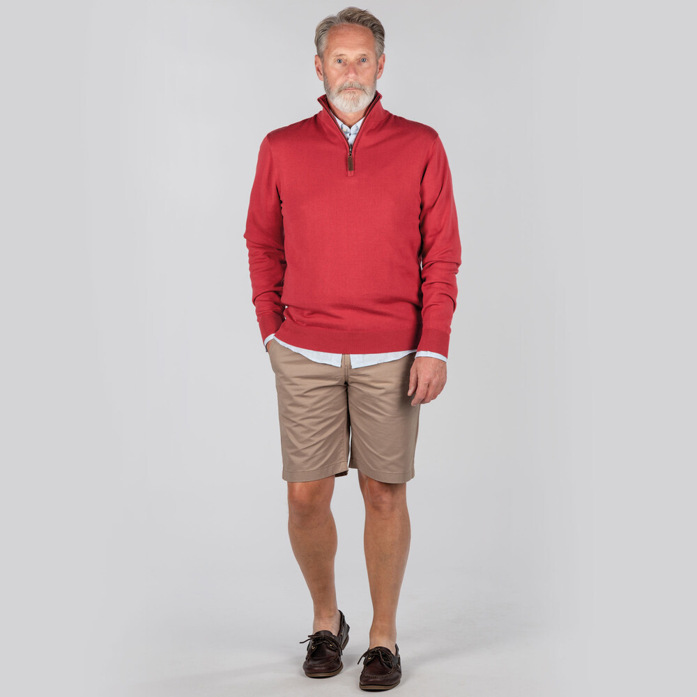 Pima Cotton 1/4 Zip Cherry