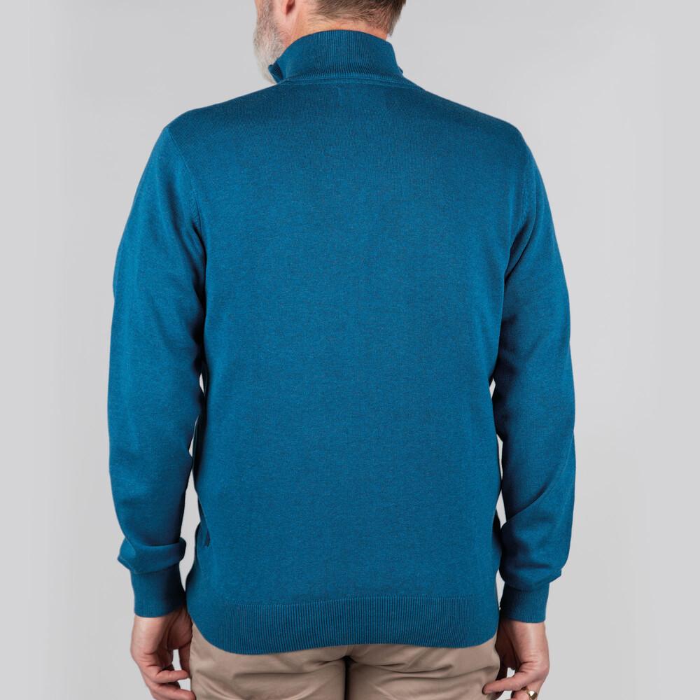 Pima Cotton 1/4 Zip Mykonos Blue