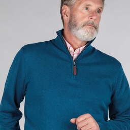 Schoffel Country Pima Cotton 1/4 Zip in Mykonos Blue