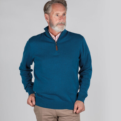 Pima Cotton 1/4 Zip Mykonos Blue