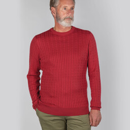 Schoffel Country Pima Cotton Cable Crew Jumper in Cherry