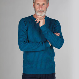 Schoffel Country Pima Cotton Cable Crew Jumper in Mykonos Blue