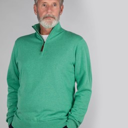 Schoffel Country Cotton French Rib 1/4 Zip in Mint
