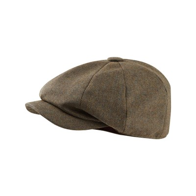 Bakerboy Cap II Loden Green Herringbone Tweed