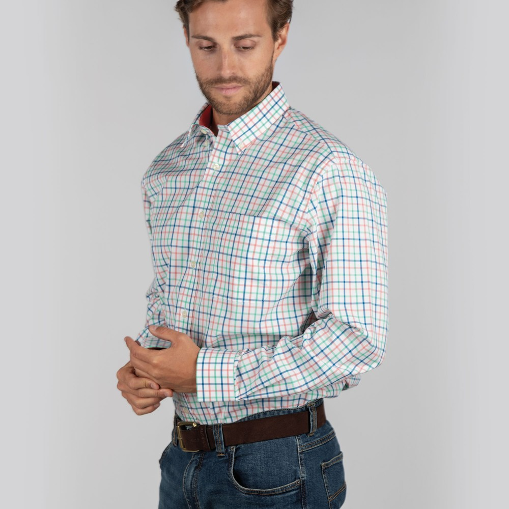 Holkham Classic Shirt Mint/Mykonos/Coral