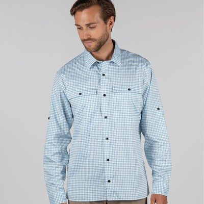 Findhorn Technical Fishing Shirt Mykonos Blue Check