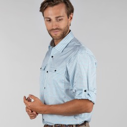 Schoffel Country Findhorn Technical Fishing Shirt in Mykonos Blue Check