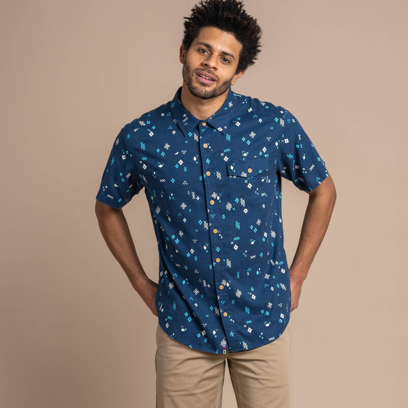 Kiran Short Sleeve Shirt - Neelo Blue Geo