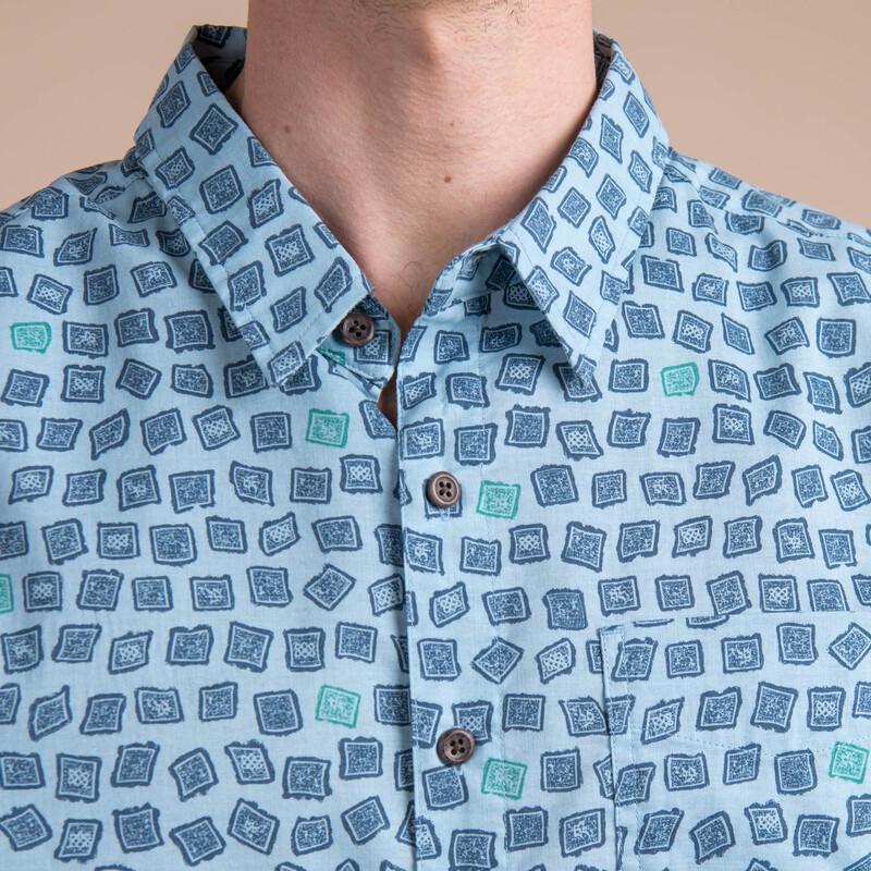 Doori Print Sleeve Shirt - Neelo Blue