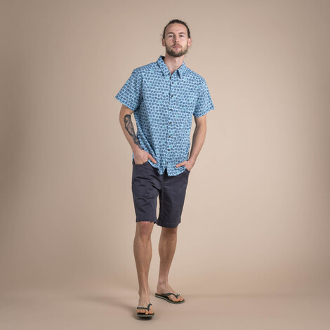 Sherpa Adventure Gear Doori Print Sleeve Shirt in Neelo Blue