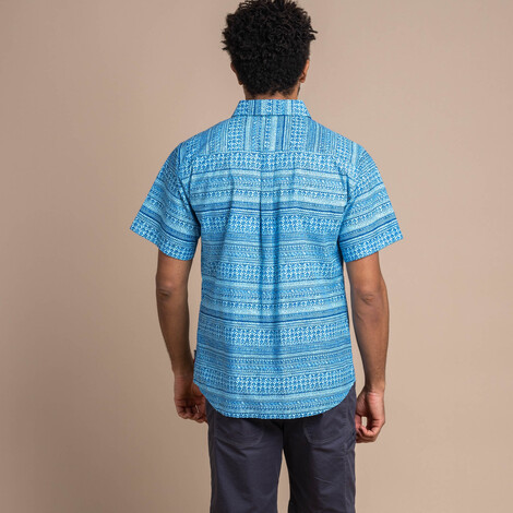 Durbar Short Sleeve Shirt Langtang Blue Print