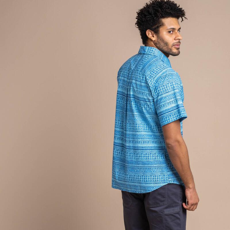 Durbar Short Sleeve Shirt - Langtang Blue Print